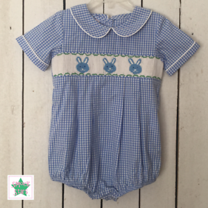 Smocked Easter Boy Bubble Smocked Bunny Bubble FREE SHIPPING