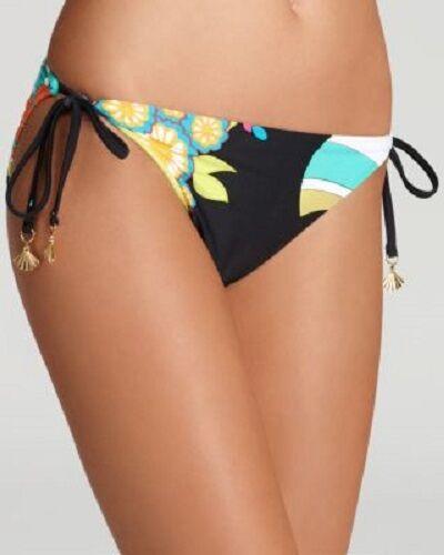 5d33c226fc138 NWT NEW Trina Turk Fuji Fans Tie Side Hipster Bikini Bottom size 8 Black  Multi