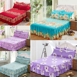 Home-Flower-Floral-Bed-Skirt-Pillowcase-Dust-Ruffle-Bedspread-Queen-Size-Bedding