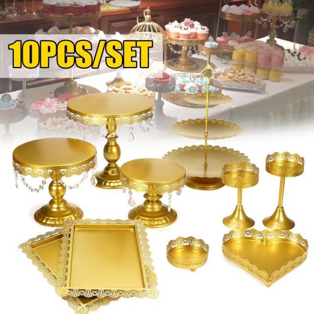 US 5Pcs Wedding Cake Stand Crystal Metal Cupcake Holder Crystal Plates Set