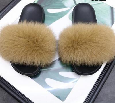 8ecdb971f3c0 Brand New Flat Women Real Fox Raccoon Fur Sliders Slippers Indoor Outdoor  Shoes