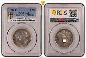 Tercer Imperio 5 Reichsmark Hindenburg 1939 Para PCGS Certificado AU58 51321