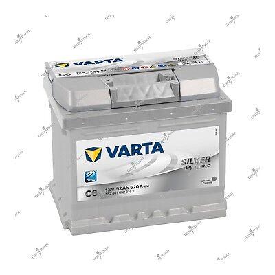 Autobatterie Silver Dynamic Varta C6 12V 52AH 520A 552401052 207X175X175mm