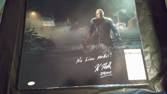 Friday the 13th GAME Kane Hodder JASON  16x20 Photo Autograph NO LIVES MATTER