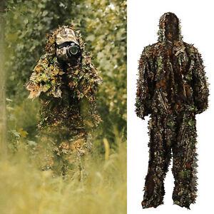 2516fbec334 Details about 3D Ghillie Suit Set Sniper Train Leaf Jungle Forest Wood  Hunting Camouflage