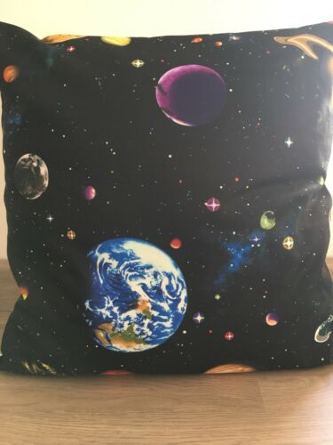 """Planets on Black 16/"""" x 16/"""" Square Cushion Cover 100/% Cotton"""