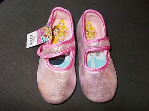 M&S Disney Princess Rip-Tape Fasten Glitter Slippers UK12 EU30.5 Pink Mix BNWT