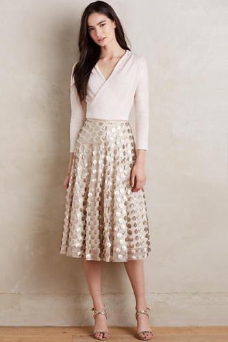 Anthropologie By Eva Franco gold Shimmer Spot Skirt Size 2
