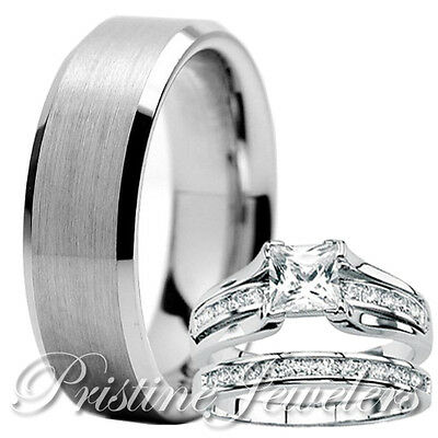 His Tungsten Her 925 Sterling Silver Engagement Wedding Ring Mens Womens 3pc Set