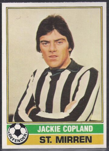 -#040- ST MIRREN SCOTTISH YELLOW BACK 1977 JACKIE COPLAND TOPPS-FOOTBALL