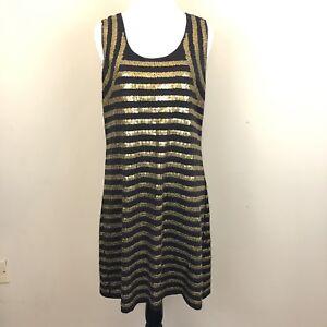 8143e42865731 Garnet Hill Women's Size Medium Gold Sequin Striped Sleeveless Dress ...