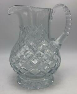 Heavy-Clear-Diamond-Cut-Glass-Pitcher-Water-Tea-Juice-7-1-2-034-Tall
