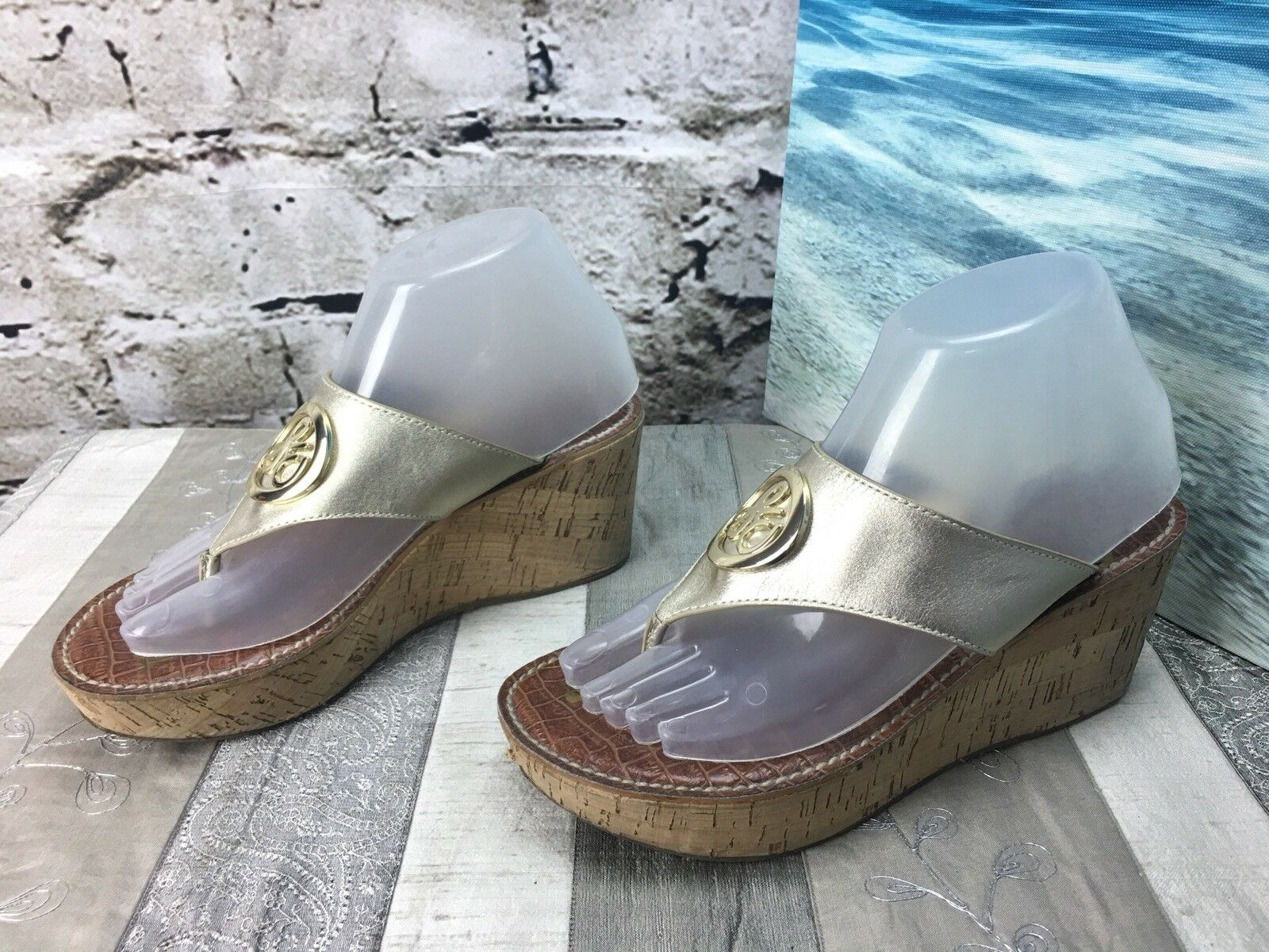 Sam Edelman Leather Sz 7.5 (Eu 37.5) Leather Edelman Ruth Gold Thong Cork Wedge Sandals EUC 8cd0b3