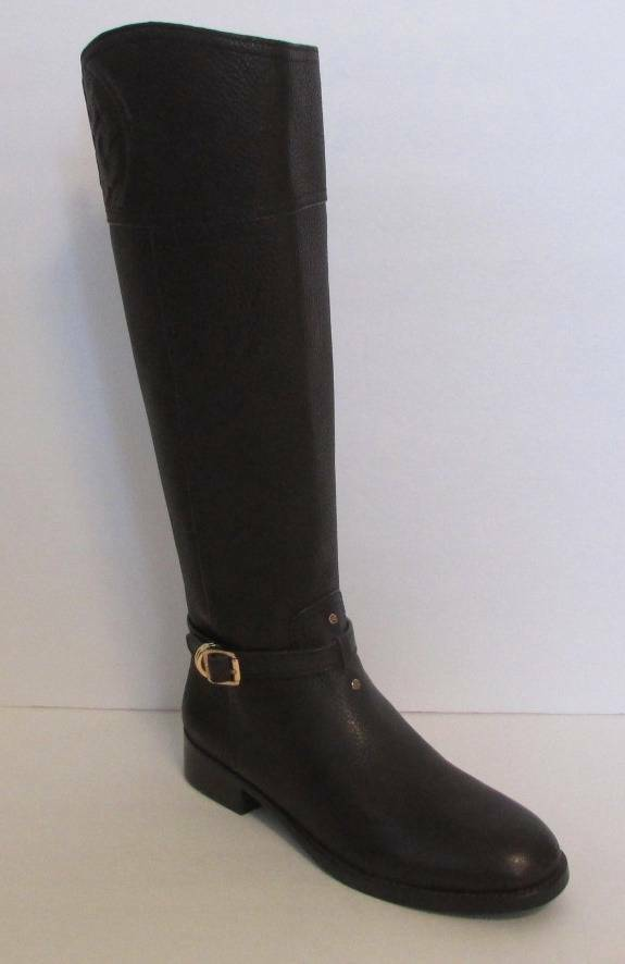 Tory Burch Marlene Coconut riding boot zipper leather 9.5 New logo tumbled brown