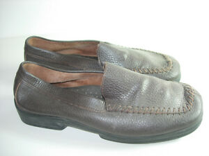 WOMENS-BROWN-LEATHER-MOCCASINS-LOAFERS-COMFORT-CAREER-HEELS-SHOES-SIZE-7-M