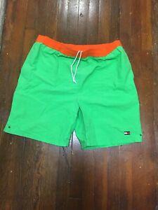 Men-039-s-Vintage-NEON-GREEN-Tommy-Hilfiger-FLAG-Swim-Trunks-Board-Shorts-XL