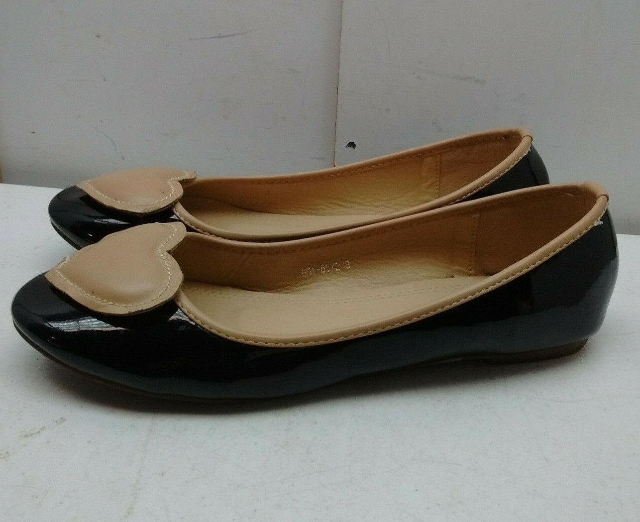 BATA marron clair noir Cuir Verni à Enfiler Ballet Plate Fleur pompe femmes chaussures 10 M 41