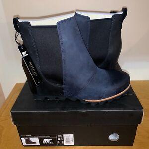 d31f28e0a78 Details about Women s Sorel Lea Wedge Boot New Waterproof Black Navy Blue  Ankle Joan Chelsea