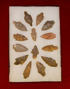 Details about Collection of 14 Native American Arrowheads w/ Frame