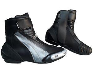 check out 11b88 403a7 Dettagli su Scarpe stivali stivaletti corti da per moto con protezioni e  sliders uomo donna