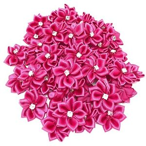 Fuchsia-Satin-Ribbon-Flowers-with-Rhinestone-Diamante-Centre-25mm-Craft-Flower