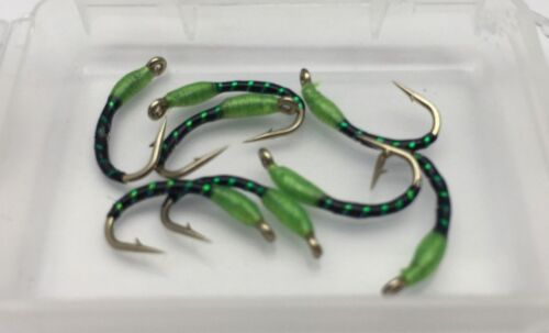 Fly Fishing Green Head Holographique époxy Buzzers tailles 10 Pack de 8 #33