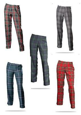 New Mens Scottish Tartan Evening Trousers Polyviscose Broadsword