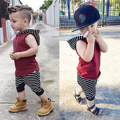Summer Baby Kids Boys Girls Tops Vest+Camo Shorts Pants Outfits Clothes Set UK