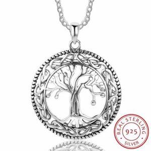 925-Sterling-Silber-Halskette-Baum-des-Lebens-runde-Anhaenger-Damen-Schmuck-NEU