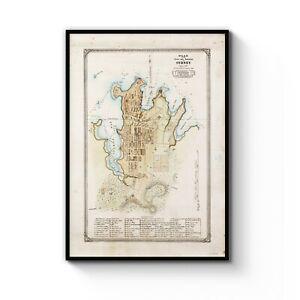 Australia Map Art.Details About 1822 Vintage Original Plans Of Sydney Australia Map Art Print Poster A4 B1 Frame
