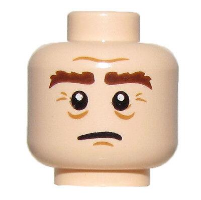 Lego New Light Flesh Minifig Head Dual Sided Black Bushy Eyebrows Brown Goatee