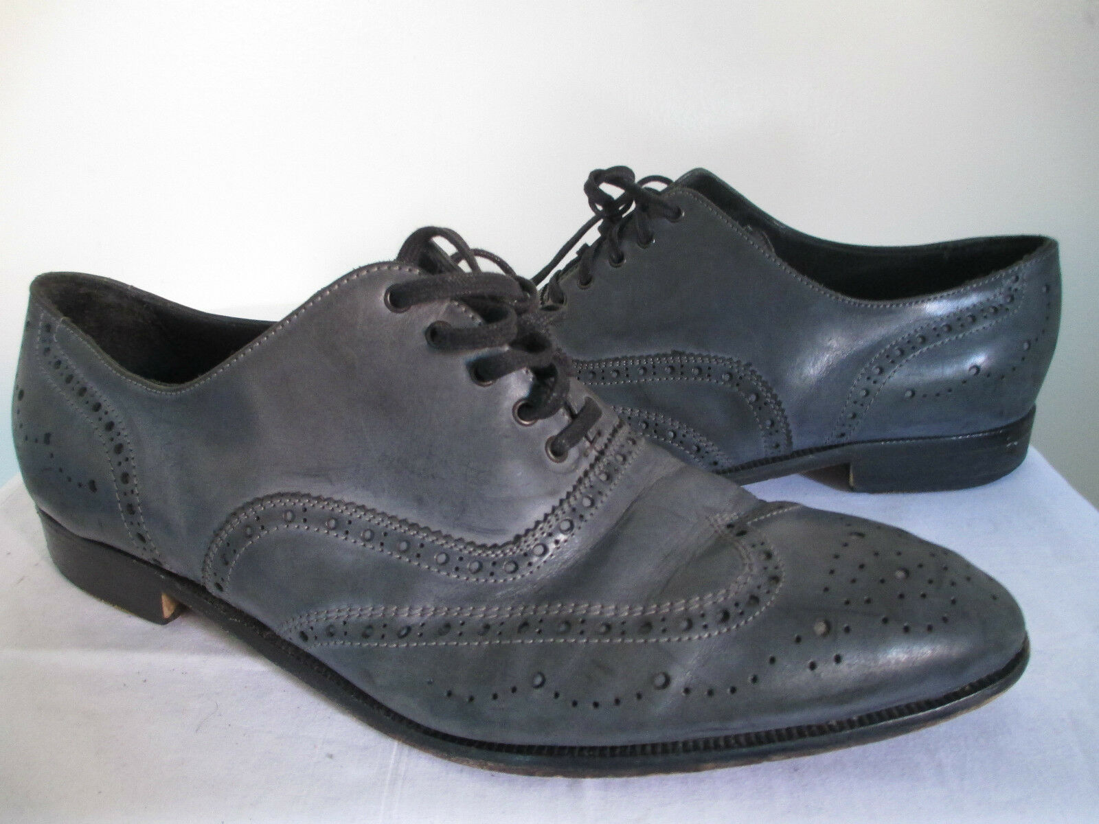 ACNE Men's Navy bluee Lace up Wing Tips Leather shoes  Sz 12.5 RARE