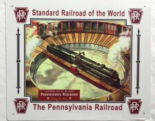 PRR //art trains PENNSYLVANIA  RAILROAD  TIN  SIGN