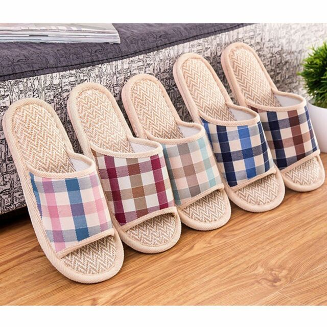 Women Men Anti-slip Linen Plaid Home Indoor Soft Open Toe Flats Shoes Slippers
