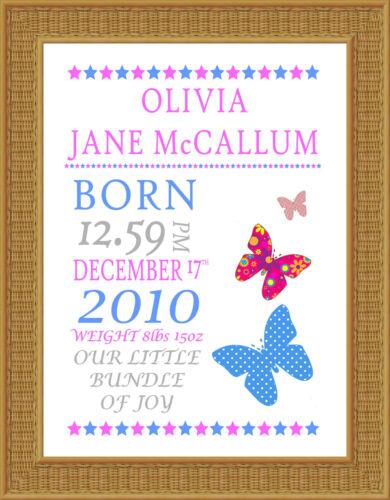 Personalizzata Baby Girl nascita stampare qualsiasi nome ART PRINT regalo muro Word ART formato A4