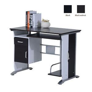 Computer-Desk-Workstation-Table-Sliding-Keyboard-Shelf-Wood-Drawer-Office-Home