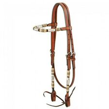 Tough 1 Browband Leather Headstall W/ Braided Rawhide & Silver Barrels Med Oil