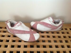 fcuk french connection white leather pink suede trainers