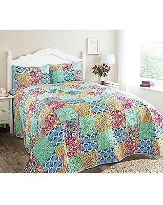 Radient Hotel Quality Quilted Aqua Patchwork Bedspread Set And Pillow Sham Throw Blanket Relieving Rheumatism And Cold Home & Garden Bedding