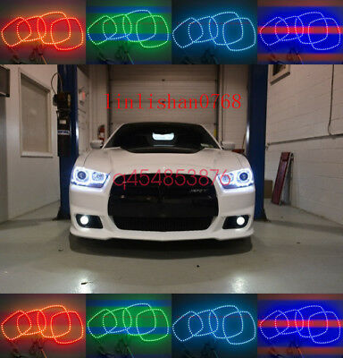 Multi-Color RGB Halo Ring LED Angel Eye For Dodge Charger Headlight 2011-2014