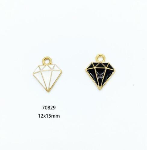 10pcs Diamant Forme Goutte d/'Huile Alliage Charms Pendentif Bijoux Making accessoires bricolage