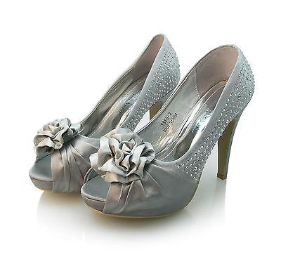 Christopher Natalia Diamante señoras plata Flor Boda Satén Zapatos de tacón para mujer