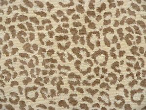 Drapery Upholstery Fabric Chenille Animal Print Leopard Tan Spots On
