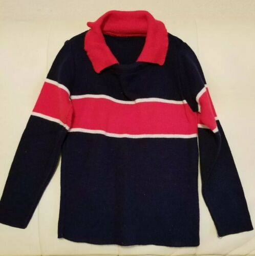Vintage Little Boys Shirt Sweater With Collar Red/