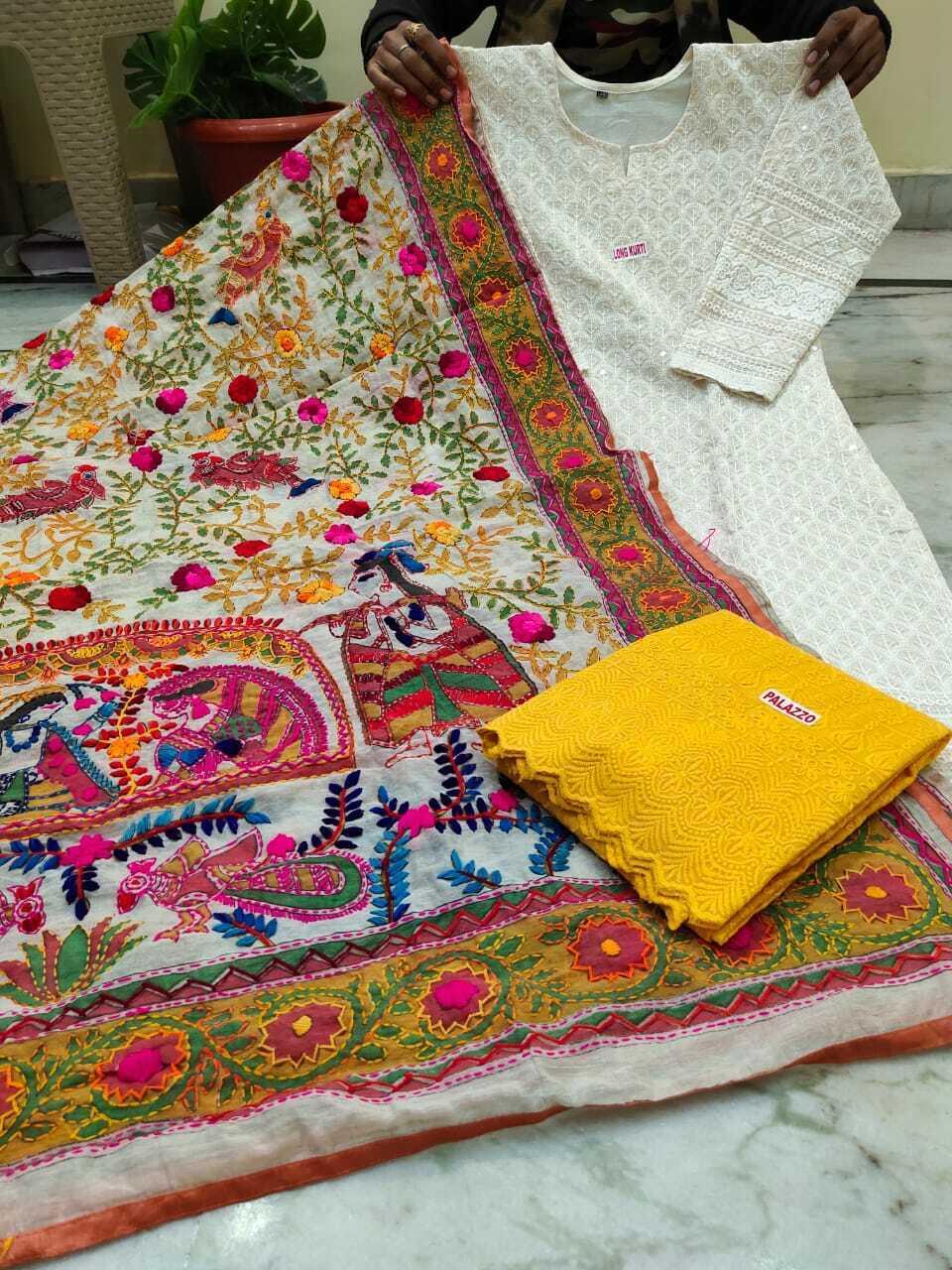 Pure cotton chiken work stitch top with sequence work beautiful kalamkari duptta