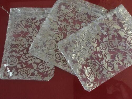 BNWOT 3 Lovely Rose flower Silver Organza Bags 13cm x 18.5cm Christmas  Gift