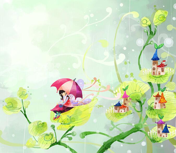 3D Elf auf den Blättern 27 Fototapeten Wandbild Fototapete BildTapete Familie DE