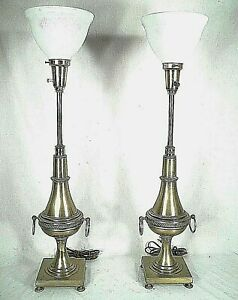 PAIR-BRASS-MID-CENTURY-REGENCY-RING-HANDLE-URN-LAMPS-ON-TURNED-FEET