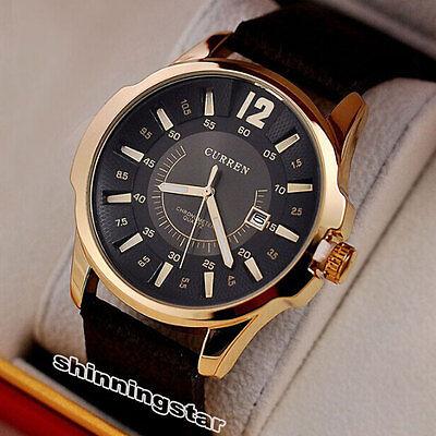 Curren Men's Analog Stainless Steel Case Quartz Date Leather Sport Wrist Watches