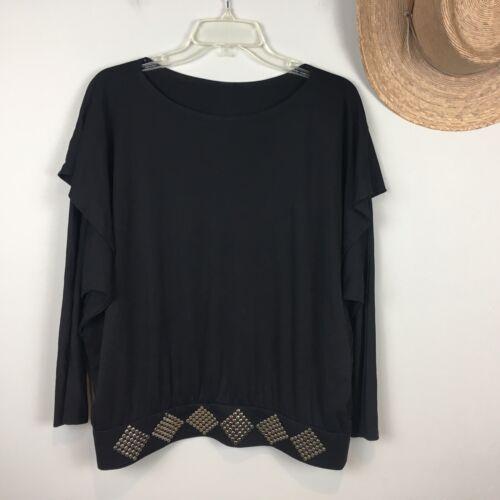 Vintage Ayako Black Studded Top Shirt Pullover Dol